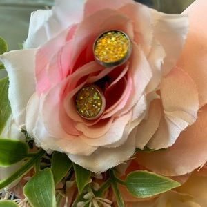 Yellow Sparkly Druzy Earrings